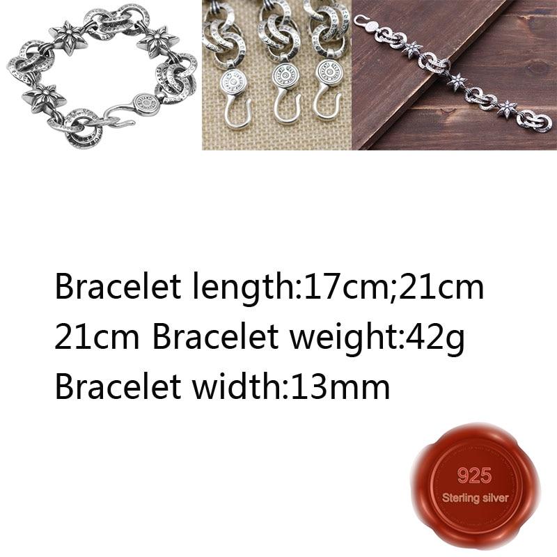 B51-3 s925 prata esterlina pulseira personalidade moda retro punk hip-hop estilo simples de seis pontas estrela carta forma nova quente