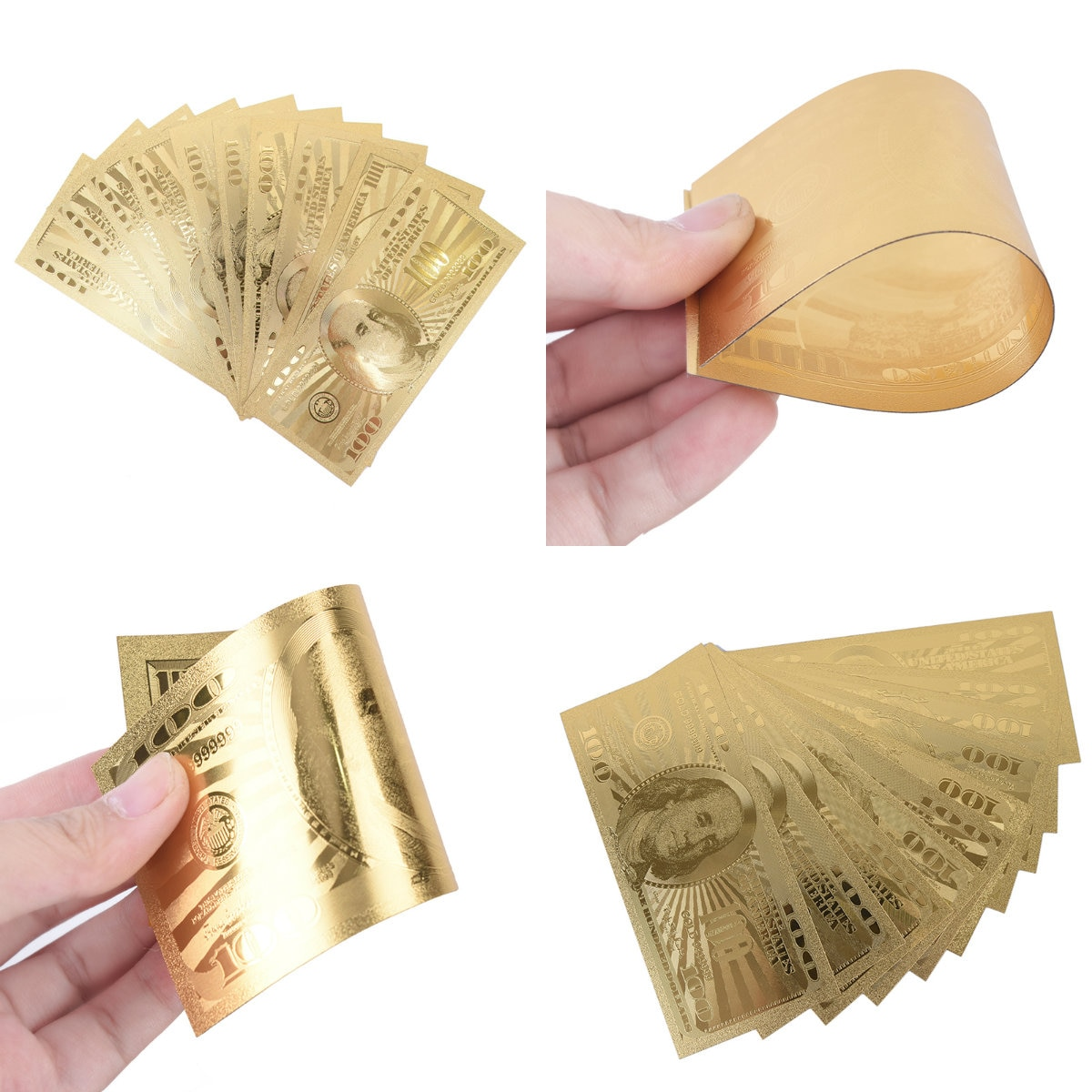 10Pcs/Lot Commemorative Gold Banknotes 100 Dollar USA Currency Bill Fake Paper Money Coin Medal 24k United States OF America