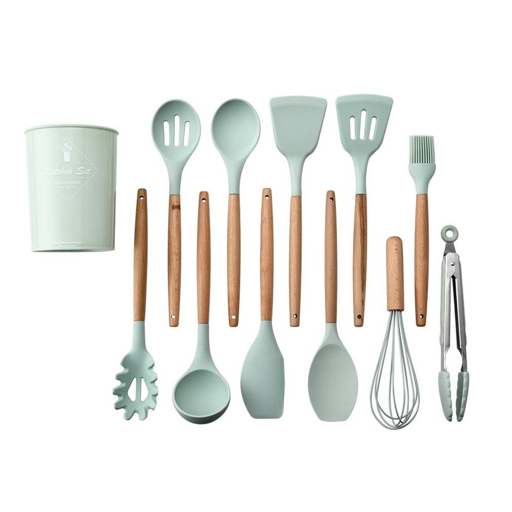 11 pcs silicone kitchen utensil set solid wood handle with storage bucket kitchen utensil kit kitchen tool accessories