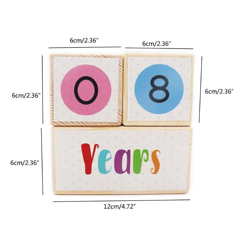 Wooden Baby Age Milestone Blocks Newborn Birth Gift Souvenir Photography Tool
