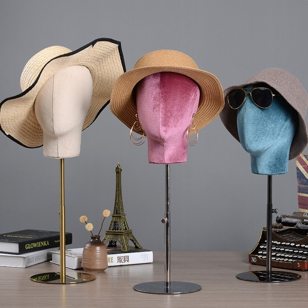 Metal Hat Stands Durable Stable Metal Hat Cap Rack Wigs Holder Soft Cloth Flannel Head Model