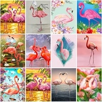 full square round drill daimond painting cross stitch animal flamingo diamond embroidery rhinestones paintings home decoration