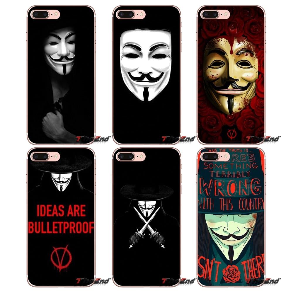 Para iPhone 4X4 4S 5 5S 5C SE 6 6S 7 8 Plus, Samsung Galaxy J1 J3 J5 J7 A3 A5 2016 diseño 2017 cubierta anónima máscara V de Vendetta