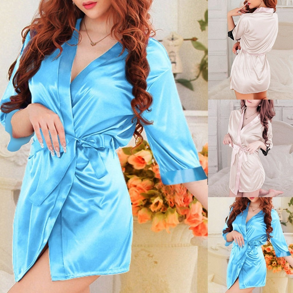 халаты Women's sexy silk nightgown thong panties comfortable Ladies bathrobe nightgown robe dress with belt soft халаты женские U*