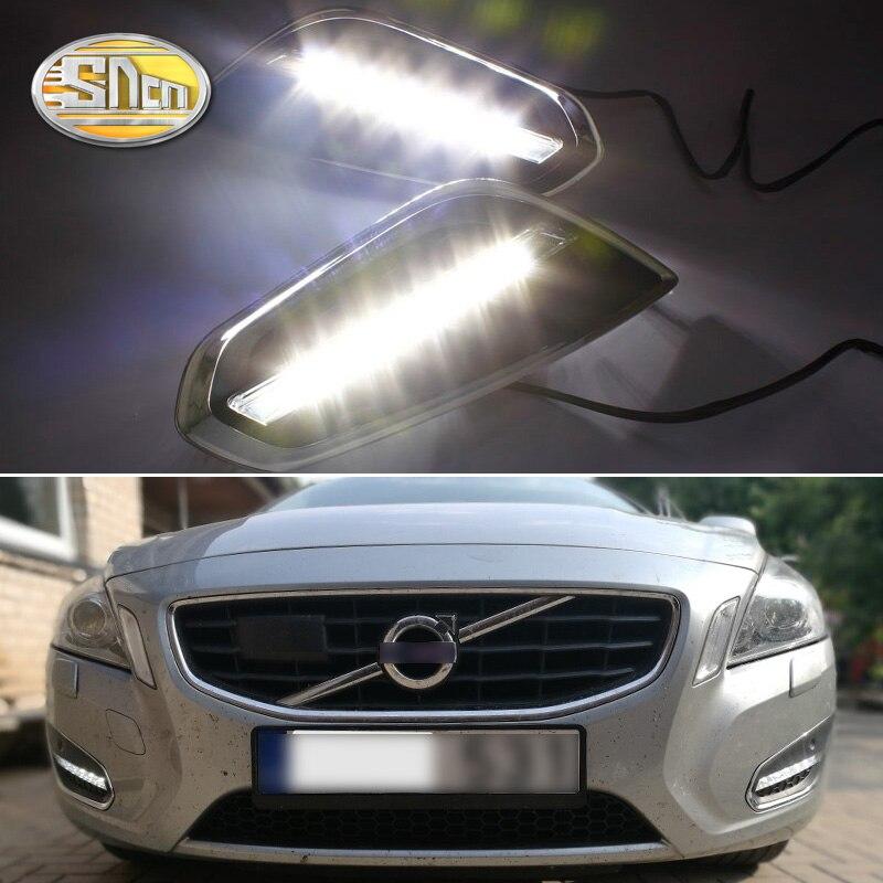 Для Volvo S60 V60 2011 2012 2013, светильник-выключение стиль реле водонепроницаемый матовый ABS автомобиль DRL 12V Светодиодный дневной ходовой светильник SNCN