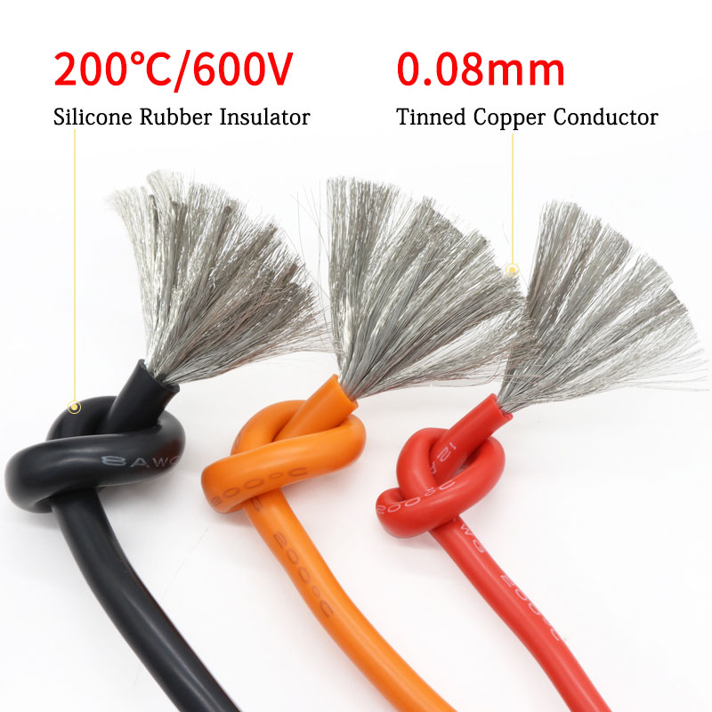 7AWG Silicone Gel Rubber Wire OD 7.2mm Flexible Cable High Temperature Insulated Copper Ultra Soft Electron DIY Line Colorful
