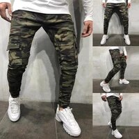 camouflage style men jeans jogger pants military pants slim multi pocket cargo pants hip hop solid colored pencil jeans men