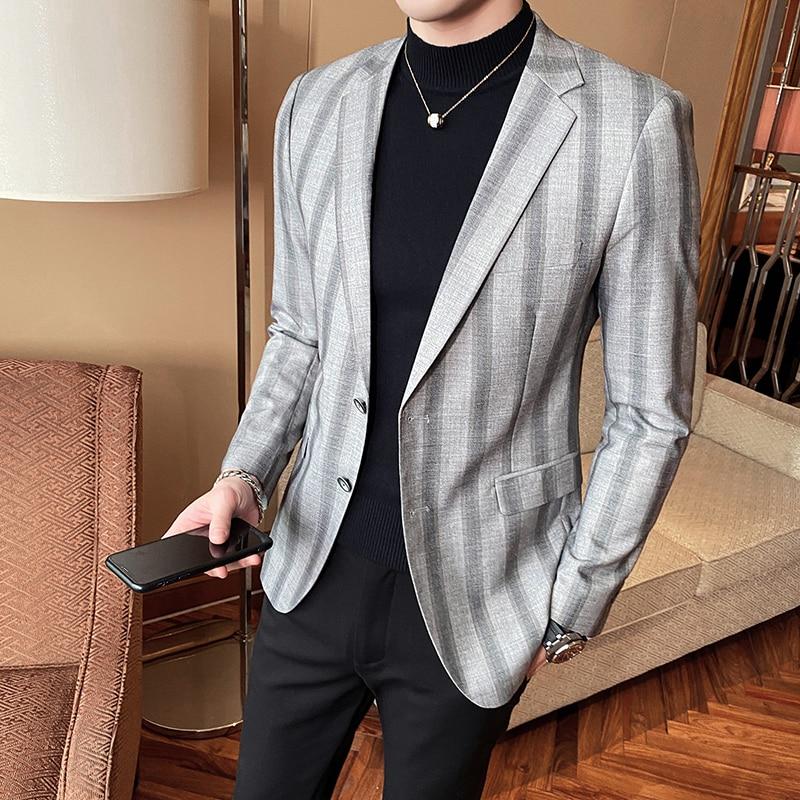 سترة مخططة غير رسمية ضيقة للرجال ، سترة عمل كورية ، معطف زفاف ، أزياء النادي
