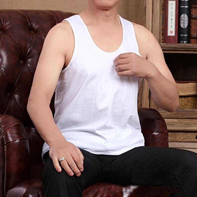 Colete masculino meia-idade e idosos algodão roupa interior plus size colete masculino algodão sem mangas blusa regata 3xl 4xl 5xl