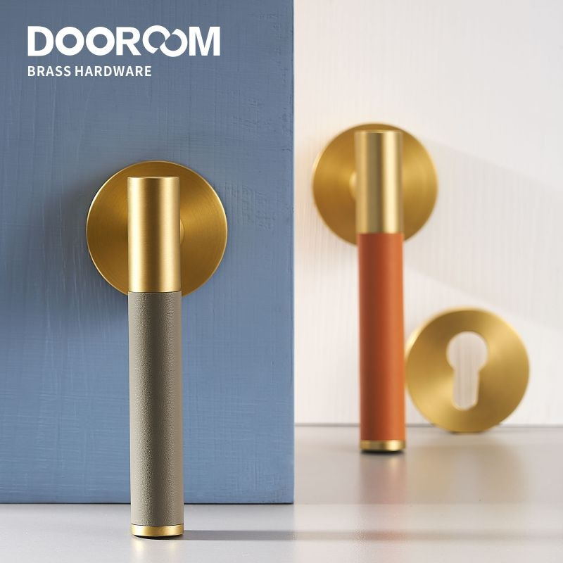 Dooroom النحاس الجلود الباب ليفر مجموعة الحديثة ضوء الفاخرة متعددة الألوان الداخلية غرفة نوم الحمام الخشب الباب قفل مجموعة الدمية مقبض