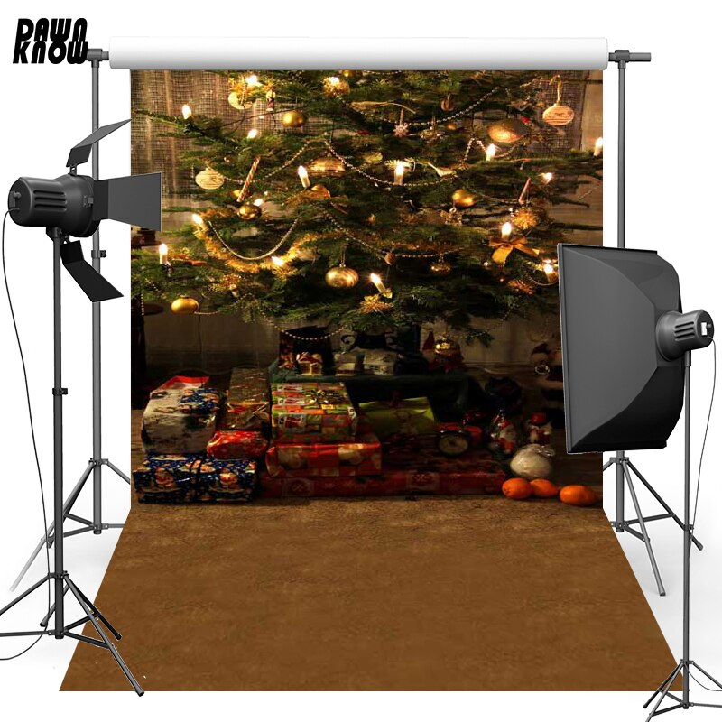 DAWNKNOW Christmas Tree Vinyl Photography Background For Baby New Fabric Polyester Backdrop For Family Photo Studio ST410