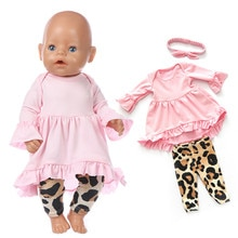 Fit 17 inch Baby New Born Doll Clothes Accessories 43cm European and American Pink Black Suit For Ba