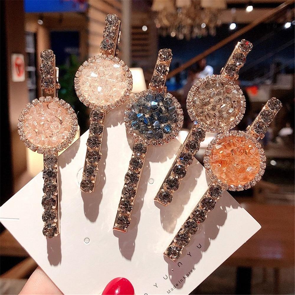 Hair Clip Hairpin For Women Girl Rhinestone Geometric Korean Handmade Fashion Head Accessories Mujer Wholesale