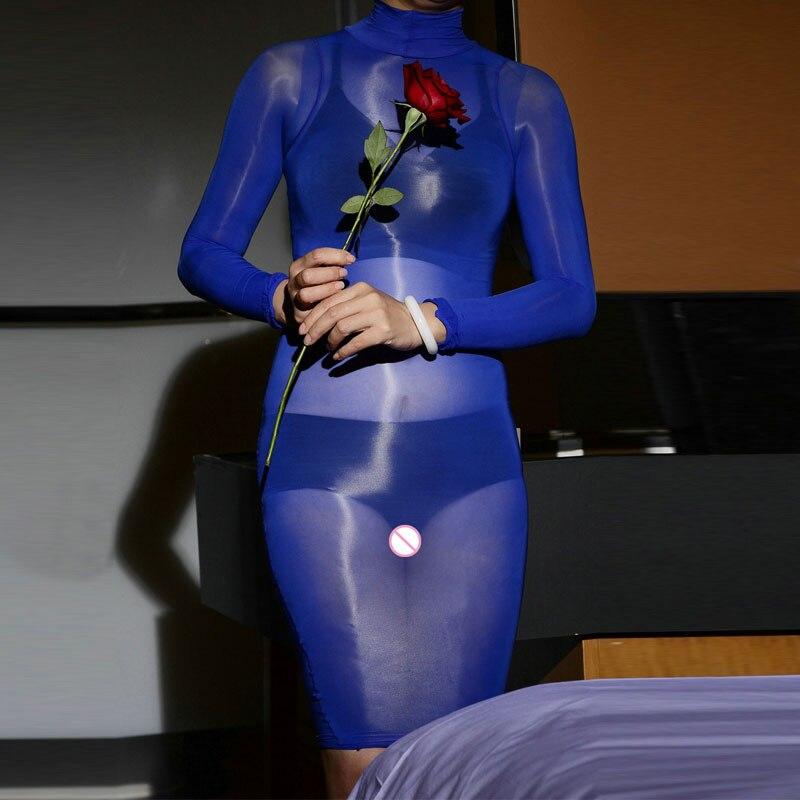 Sexy 912-Pin Elastic Oil Glossy Dress Sheer Sleeveless Dress Silk Smooth Bodycon High Collar Dresses Shiny Bodyhose Step Dress