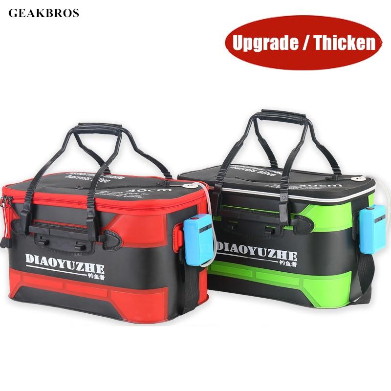 Upgrade Fishing Bag Tackle Folding EVA Fishing Bucket Live Fish Box Hand Outdoor Waterproof Bucket Camping Hiking Bag Storage