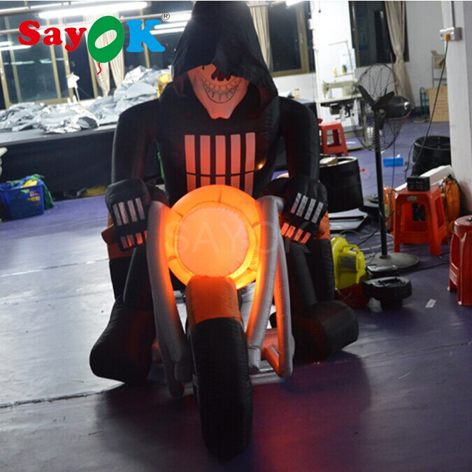 4,92ft aire soplado iluminado Ghost Grim Reaper cráneo cabeza esqueleto Rider motocicleta bicicleta escena para decoración de patio