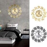Horloge murale en fer forge diamant  silencieuse en metal  decoration de la maison  salon  aiguille a Quartz  4