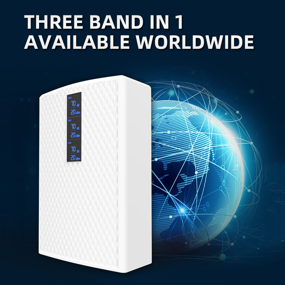 GOBOOST Tri Band Cellular Amplifier 2G 3G 4G Signal Booster 850+900+1700/2100+1800+1900+2100 MHz Repeater With 360° Antenna Kit enlarge
