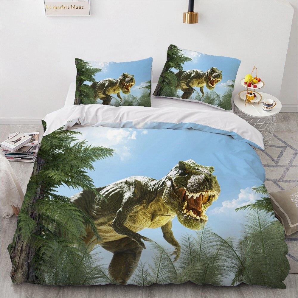 مجموعات الفراش ثلاثية الأبعاد لحاف مخصص مجموعة تغطية مبطنة المعزي أغطية سرير المخدة الملك الملكة كامل 210x210 الحيوان ديناصور المنزل Texitle