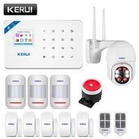 KERUI     Kit systeme dalarme de securite domestique W18  wi-fi  GSM Smart  capteur de mouvement  anti-cambriolage  controle via application