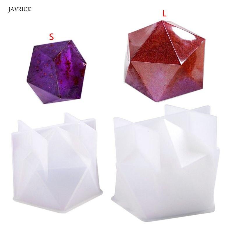 Nuevo molde de cristal epoxi mesa de escritorio decoración joyería grande Multi-facetado alto espejo resina molde de silicona