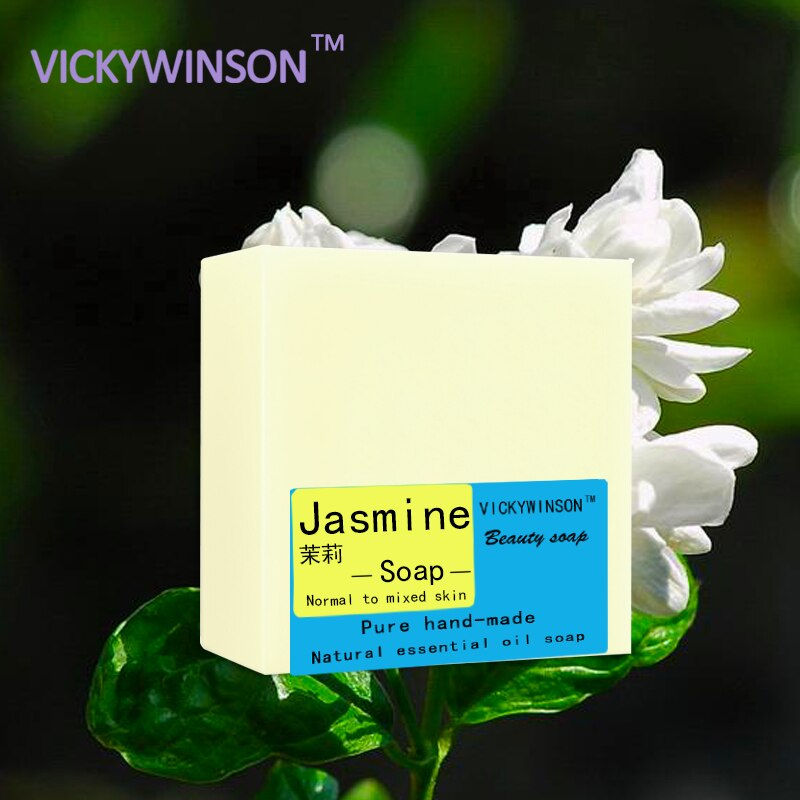 VICKYWINSON Jasmine handmade soap 100g Soap Natural Jasmine Handmade Soap Cold Process Homemade Soap Freckle Moisturiz Emollient