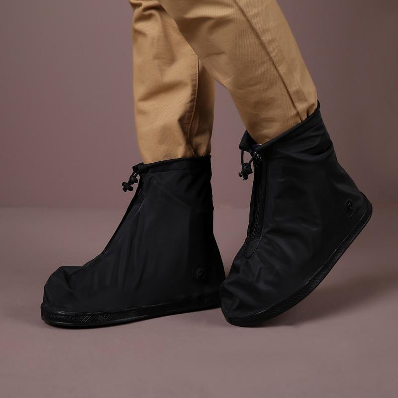 Botas de Chuva Impermeável à Prova de Areia Capa para Viagens ao ar Mulher Engrossado Zíper Camada Antiderrapante Sapato Livre Pvc
