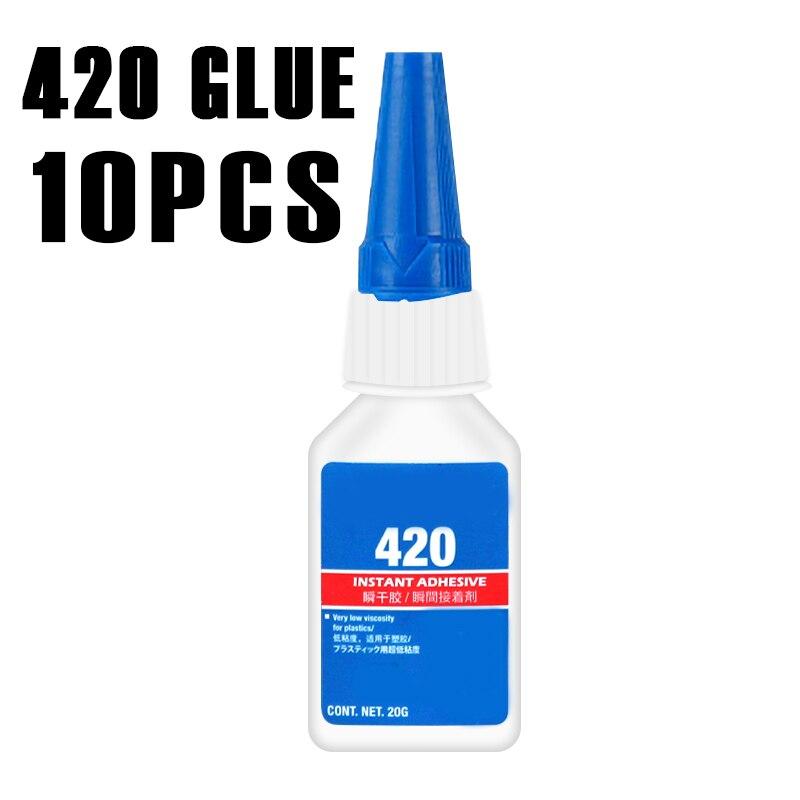 10pcs 420 Glue Transparent Liquid Glue Instant Curing Fast Bonding Small Parts Metal Rubber Plastic Glue Penetration Type