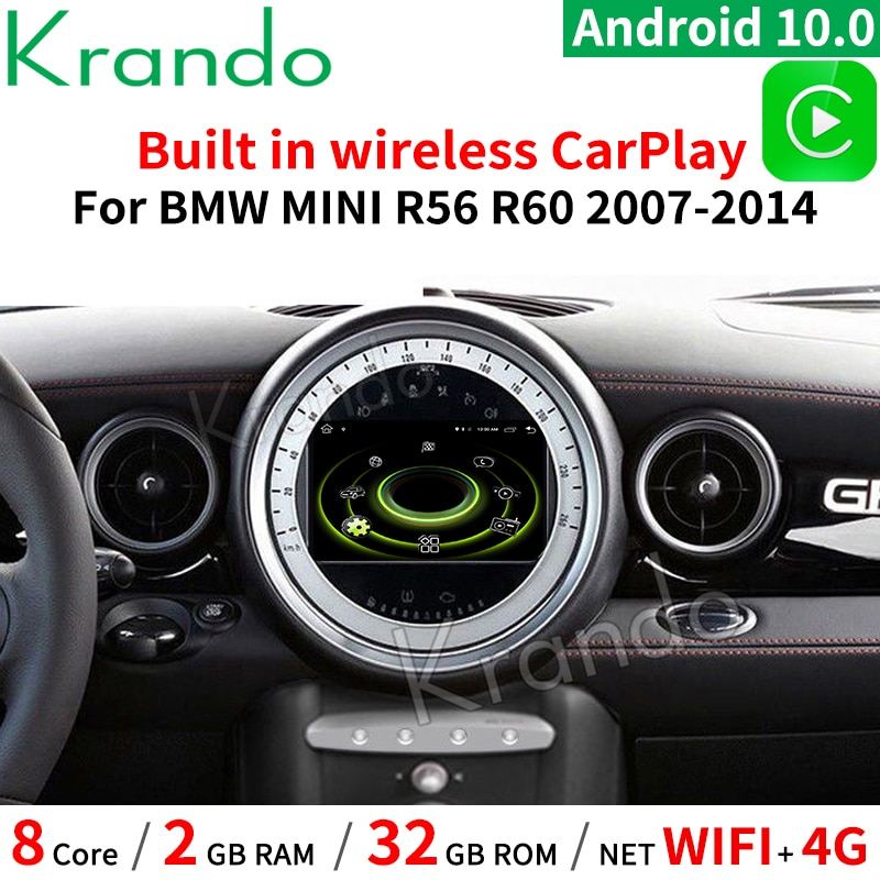 Krando-راديو السيارة متعدد الوسائط GPS ، راديو مع مشغل ، Android 10.0 ، 7 بوصة ، للسيارة BMW Mini Cooper R56 ، 2007-2010 ، فضي ، CD ، لاسلكي ، Carplay