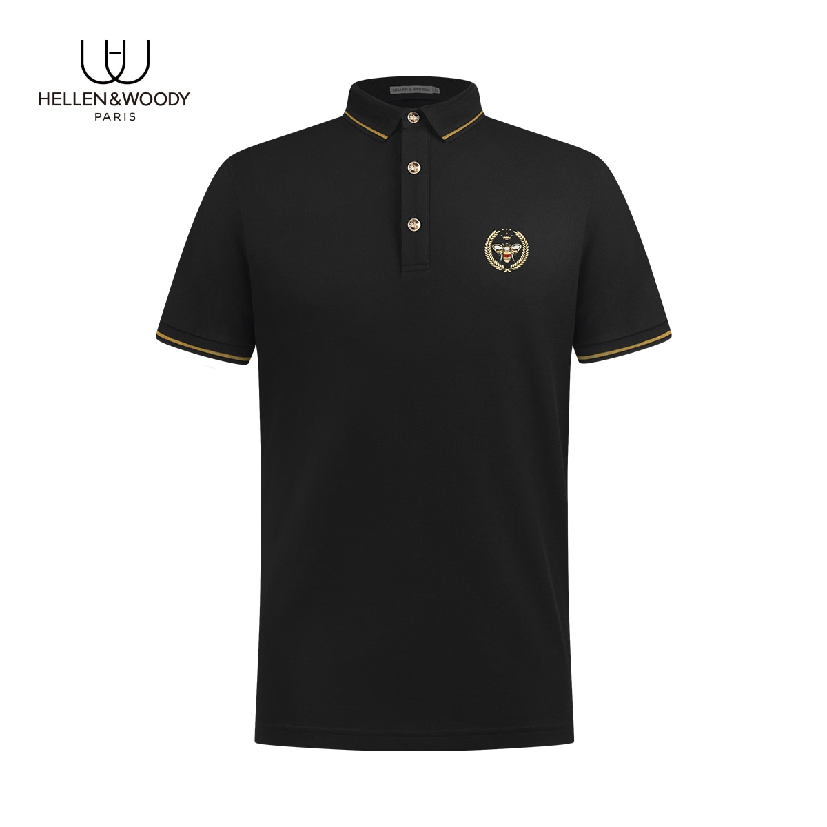 Hellen&Woody 21SS France Luxruy Brand Pure Cotton Fit Slim Bee Exquisite Embroidery Short Sleeve Top-Shirt For Man Polo Shirt