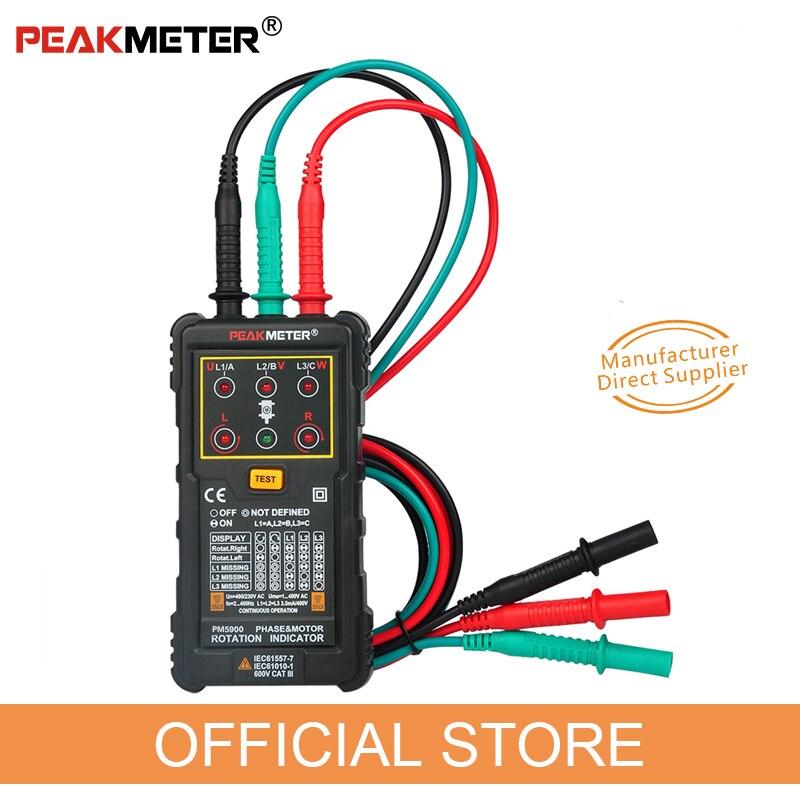 PEAKMETER PM5900 3 индикатор вращения двигателя Тестер последовательности индикатор вращающегося поля Трехфазная система тестирования двигателя ...