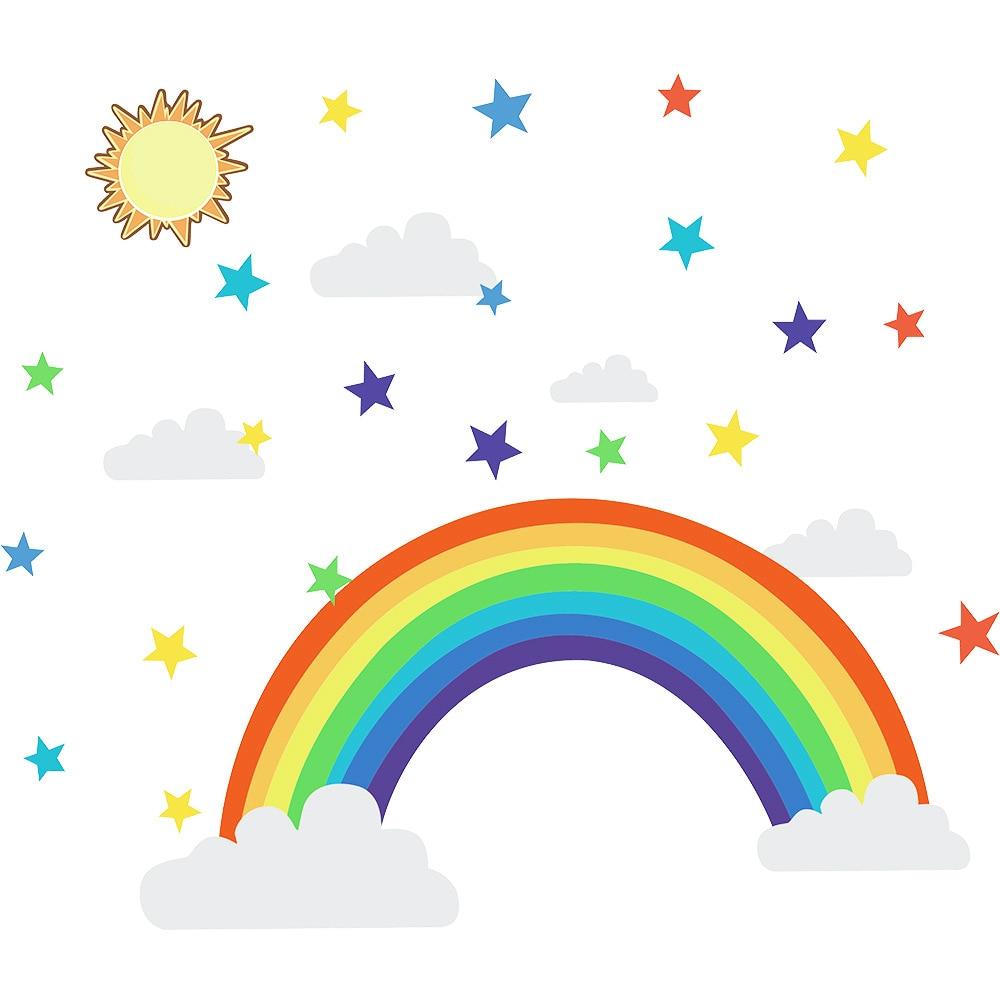 Купить с кэшбэком Cartoon rainbow stars Wall Sticker for kids rooms Living room bedroom decorations wallpaper color Mural Child nursery stickers