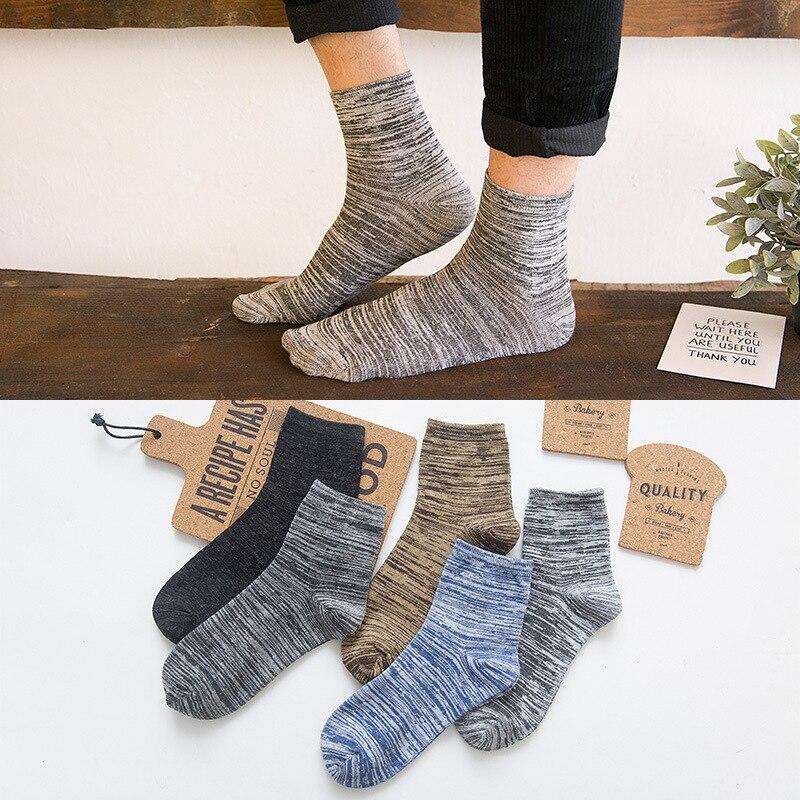 Новинка, мужские толстые носки, цветные хлопковые носки, Осенние Зимние мужские короткие носки, носки без пятки, индивидуальные национальны...