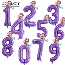 2pc 40inch Party Decoration Pink Purple Digital Balloon Mini Mermaid 0-9 Happy Birthday Girl Theme Princess Decoration