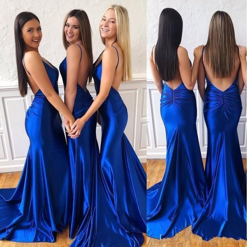 Azul real sereia vestidos de dama de honra espaguete sstraps aberto para trás casamento vestido de convidado vestido de dama de honra feito sob encomenda