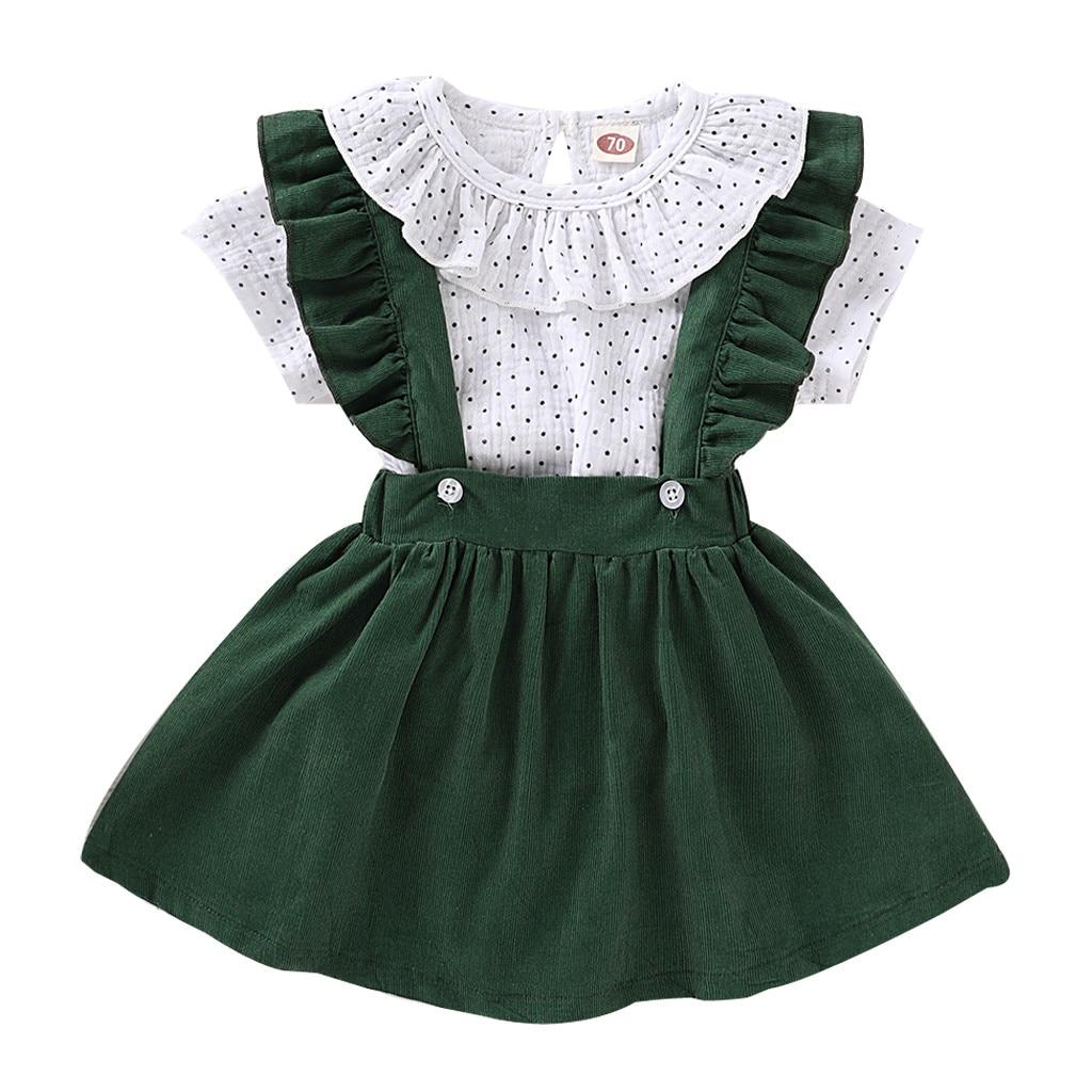 KANCOOLD, solapa de manga corta para bebé, botón trasero de lunares, bolso hakama, fart + color sólido, botón de volante, traje de falda con correa de cola de pez