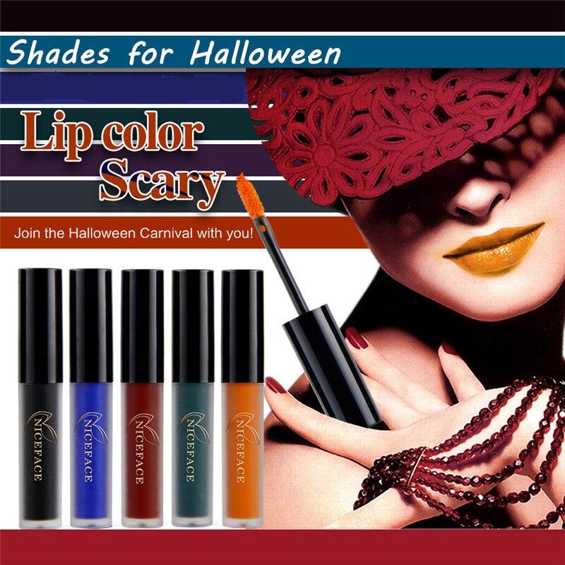 NICEFACE Lipstick Maquiagem Long Lasting Sexy Matte Black Blue Liquid Lipgloss Lip Waterproof Party Gray Green Lip Gloss Makeup