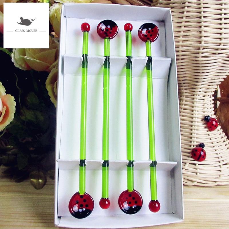 Personalizado hecho a mano Navidad vidrio cuchara Bar cocina creativa vajilla cucharilla de cristal mariquita cabeza ornamento arte cuchara de mango largo