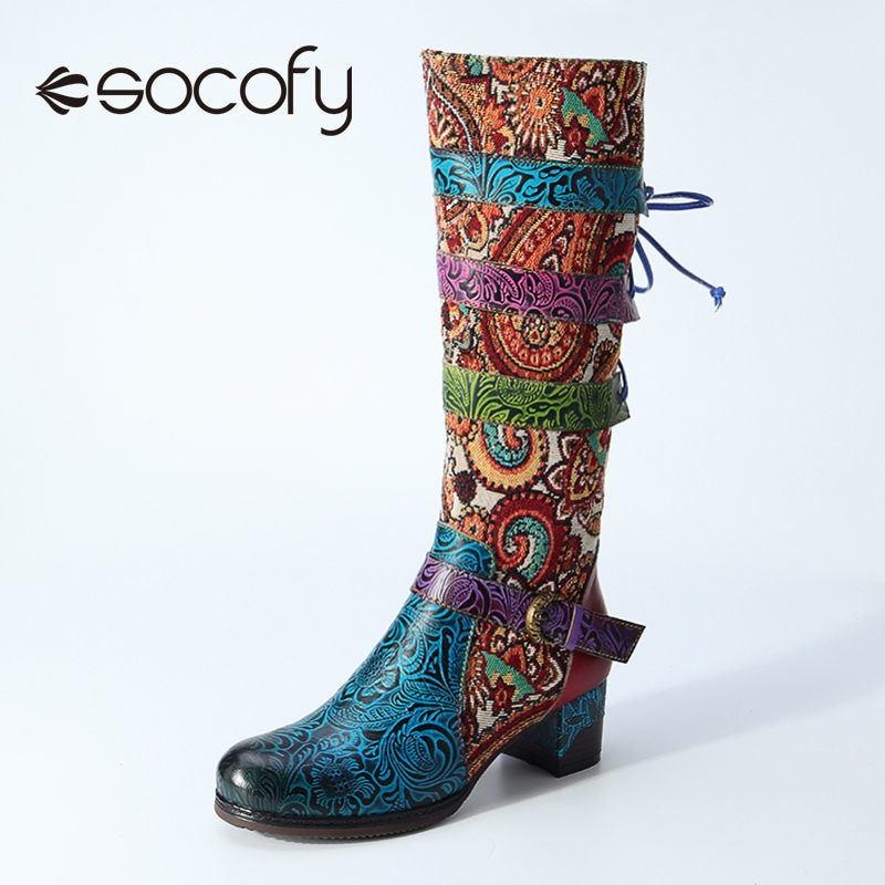 SOCOFY-أحذية نسائية بوهيمية ريترو ، أحذية راعية البقر من الجلد الطبيعي ، كعب متوسط سميك ، مقدمة مستديرة ، سحاب ، أربطة