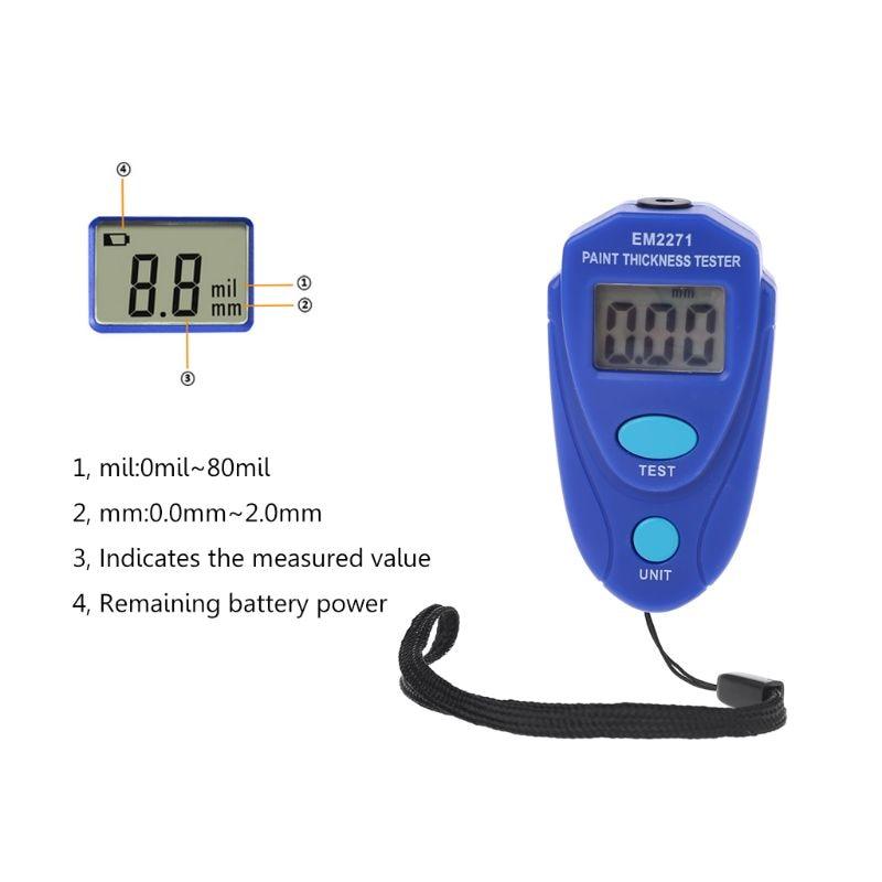 EM2271 Digital Mini Thickness Gauge Car Paint Tester Thickness Coating Meter 35ED