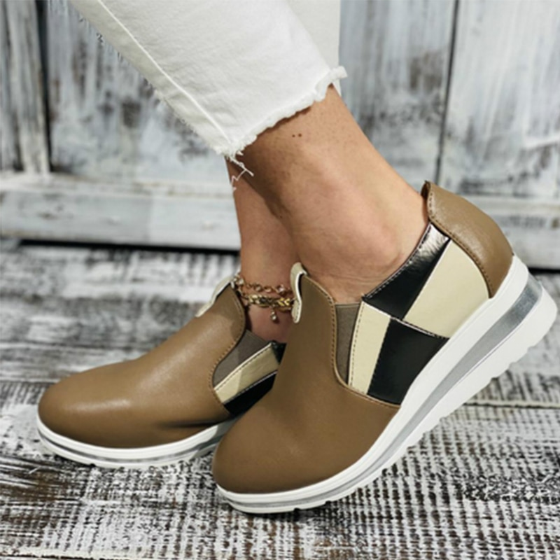 Woman Autumn Winter Flat Platform Pu Slip On Casual Shoes Woman Elastic Band Thick Bottom Vulcanized Shoes Female Casual Shoes