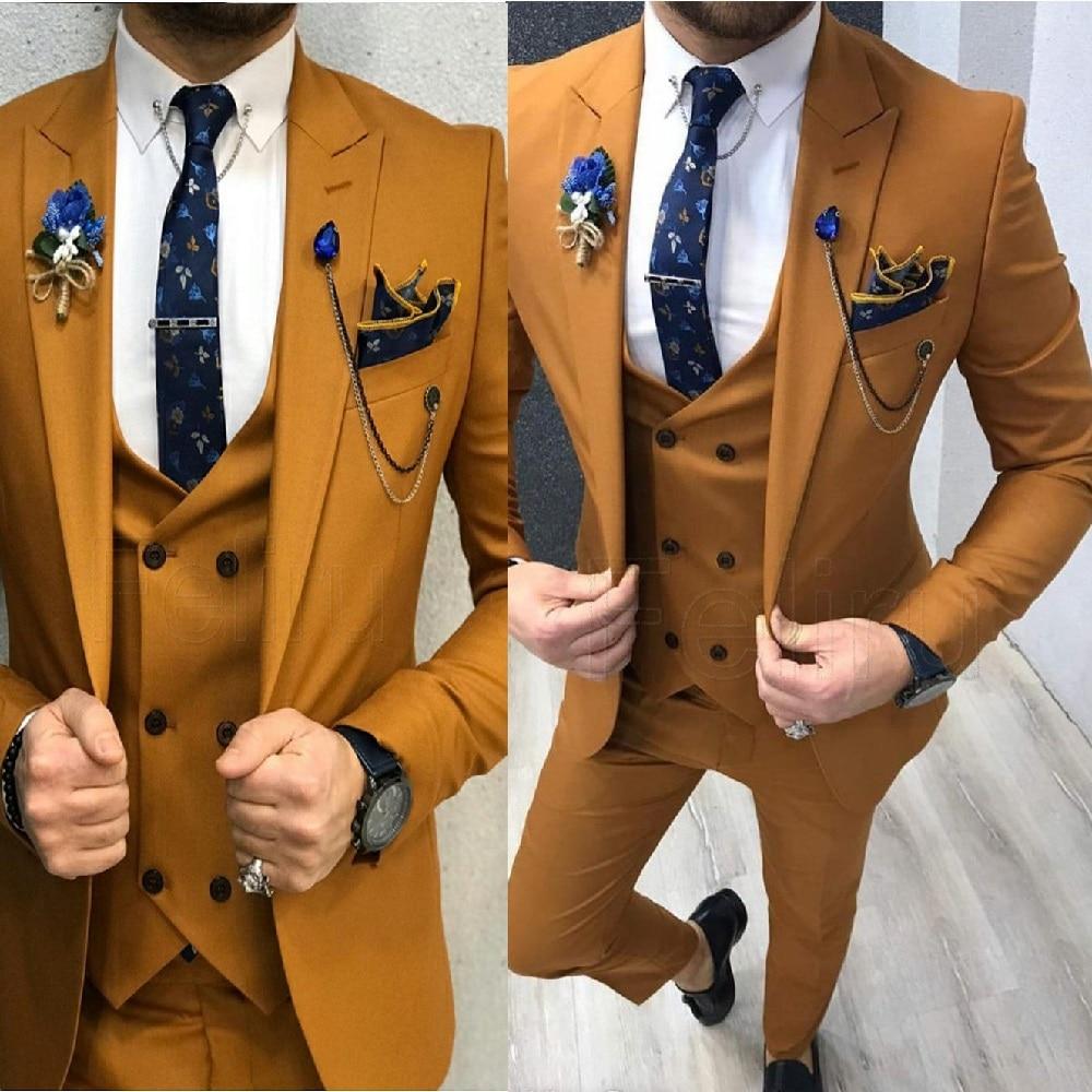 الأزياء الرسمية براون الرجال الدعاوى سهرة الذكور السترة الزفاف حفلة موسيقية الأعمال العمل ارتداء سليم صالح زر واحد 3 قطعة سترة بانت سترة