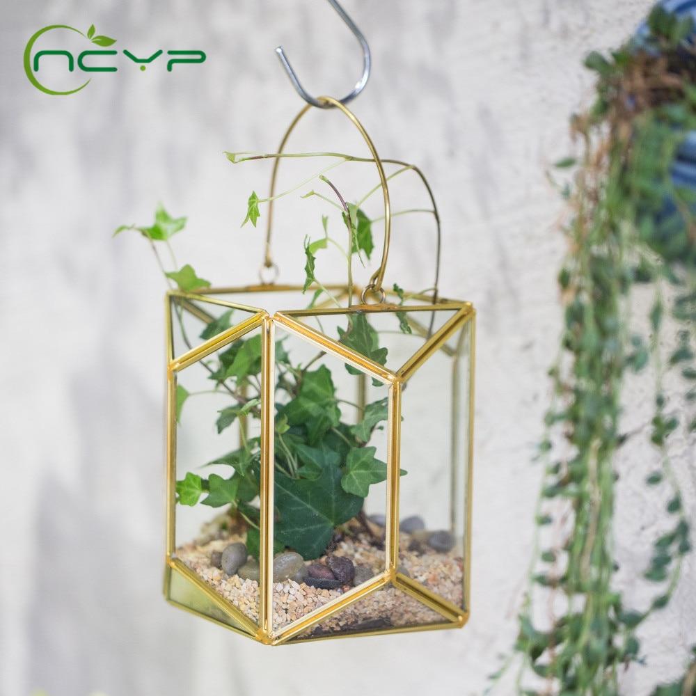 Vaso de Flores de Vidro com Alça de Cobre Vaso de Flores Ncyp Pendurado Ouro Echelon Geométrico Terrário Lanterna Planta Suculenta Parede