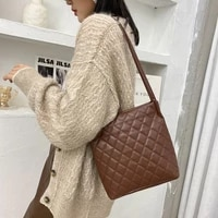 checkered large capacity bags student casual shopping bags soft underarm shoulder messenger bag lady travel handbags