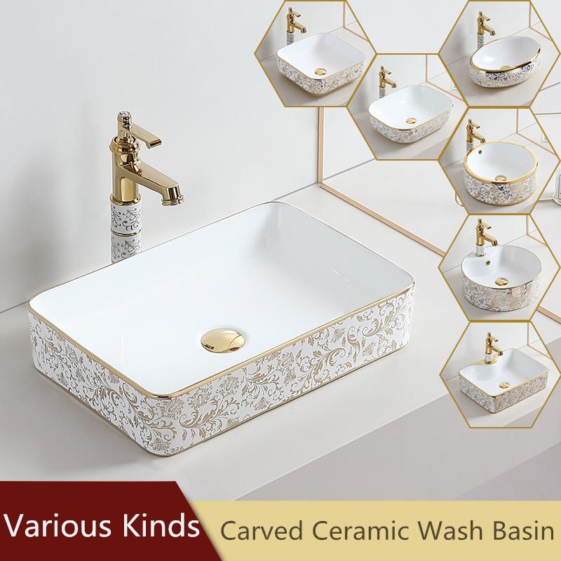 حوض حمام مستطيل من البورسلين ، حوض سيراميك فني ، حوض شامبو ، خزانة حمام بيضاوية