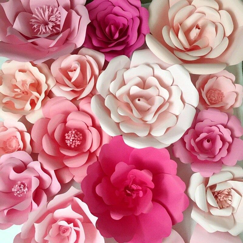 2 uds/20 cm, Rosa grande Artificial, flores de papel hechas a mano DIY para decoraciones de fiesta de boda evento, decoración de la pared de fondo de flores de papel