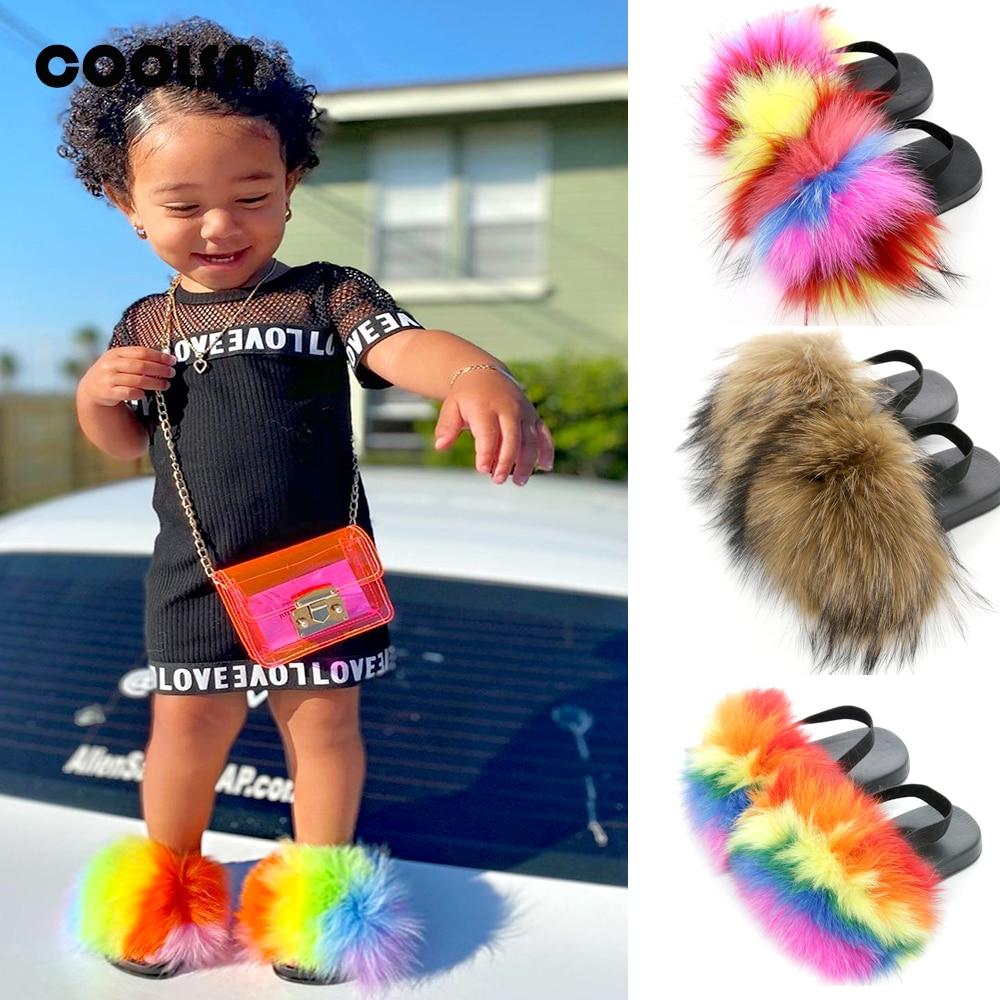 Summer Children Fur Slippers Kids Fur Slides With Strap Fluffy Fox Fur Flip Flops Flat Elastic Baby Furry Sandals Cute Fur Shoes