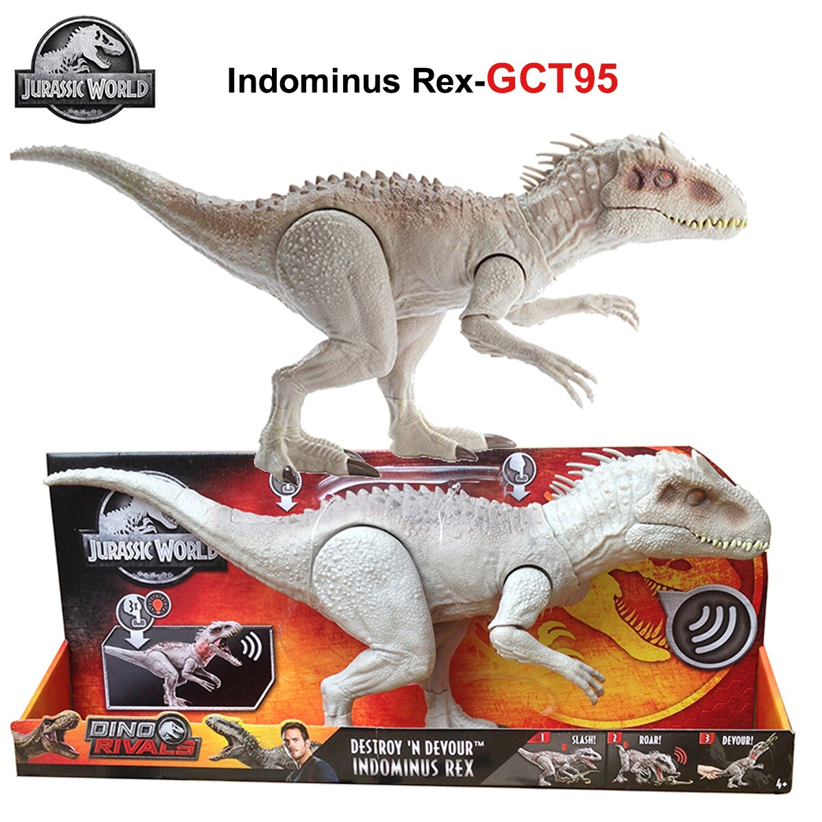 Jurassic World Indominus Rex GCT95 Dinosaur Toy Tyrannosaurus Biting Movement Ferocious Sound Effect Toys for Kids Birthday Gift