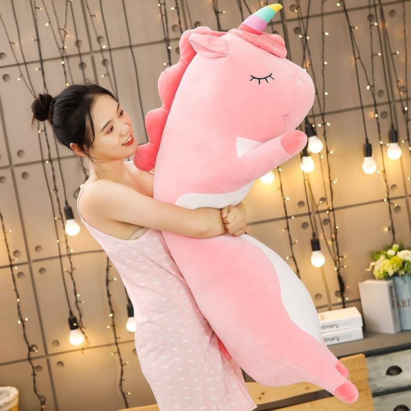 120cm dibujos animados unicornio peluche almohada lindo conejo suave gato dinasour cerdo peluche juguetes bebé cojín hogar Decoración sofá regalo para chico