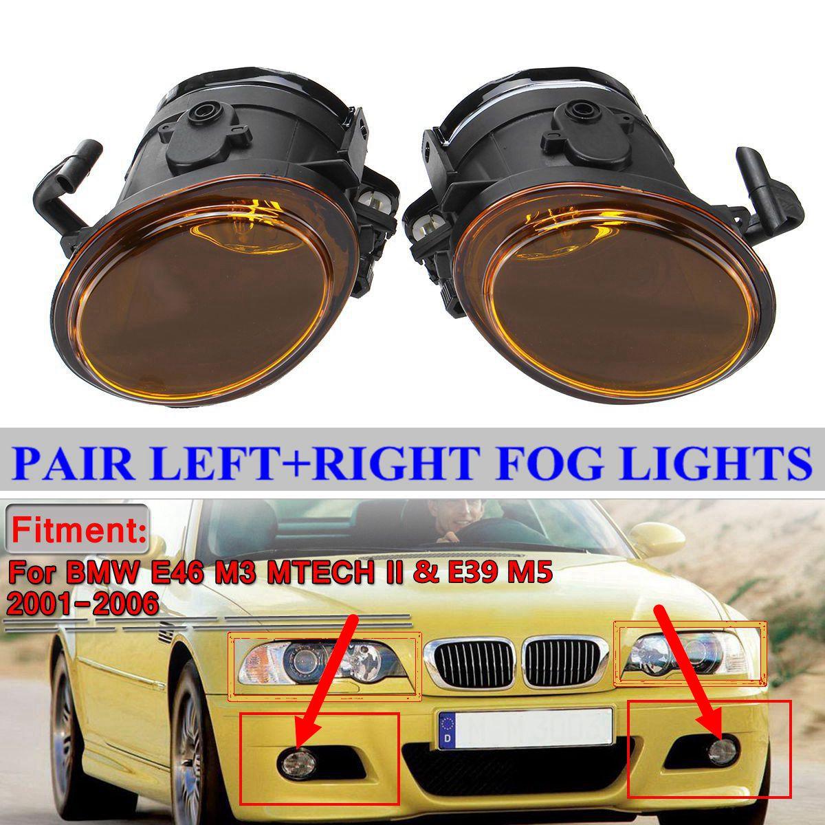 Amber Yellow 2x E46 Car Front Fog Light Assembly For BMW E46 M3 & MTECH II & E39 M5 2001-2006 No Bulbs Fog Lamp 63177894018